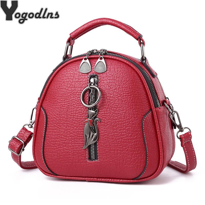 High Quality Solid  PU Leather Women Bag Ladies Crossbody Messenger Shoulder Bags Vintage Handbags Kitten Ornaments