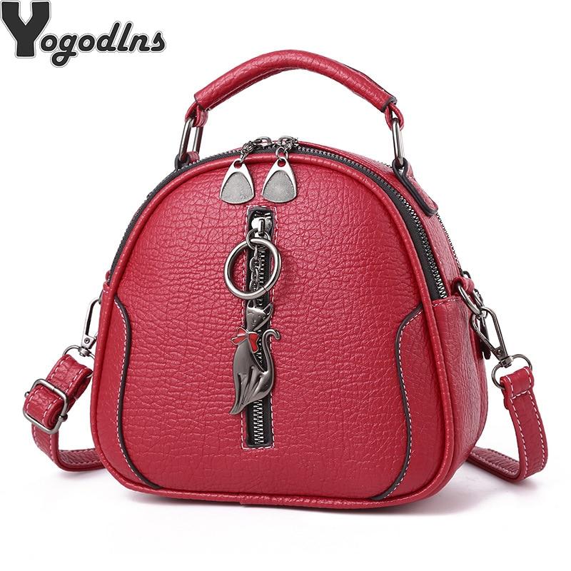 High Quality solid  PU Leather Women Bag Ladies Crossbody Messenger Shoulder Bags Vintage Handbags kitten ornaments