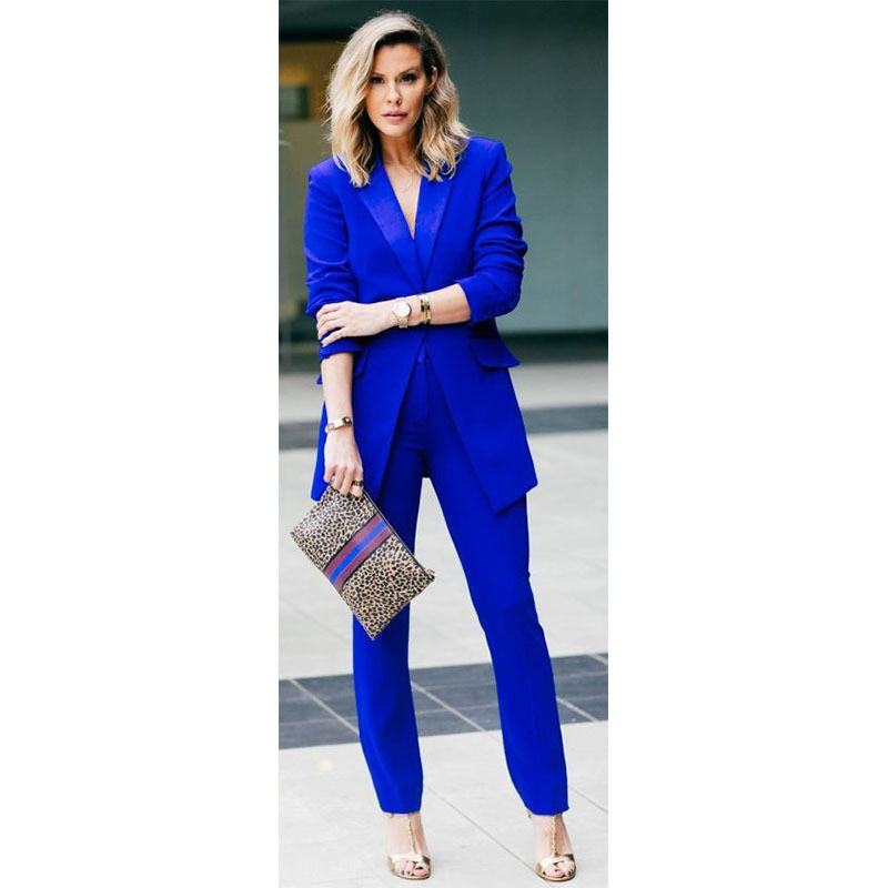 New Womens Royal Blue Formal Pants Suits for Weddings Tuxedo Ladies Business Suits Blazer B224