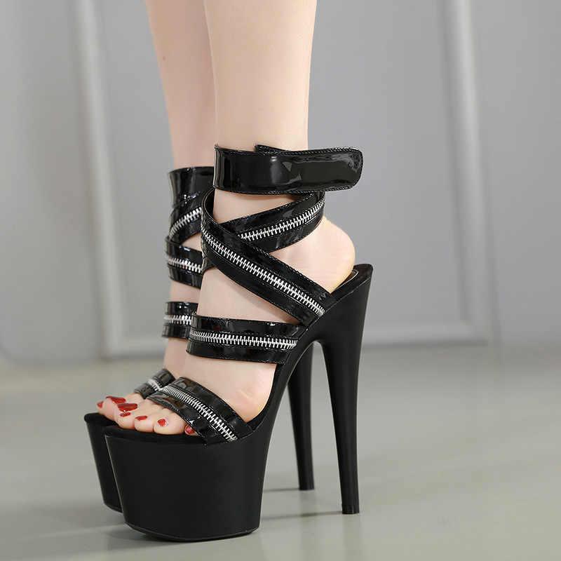 Scarpe da donna 2019 di estate di nuovo modo sexy brillante in pelle a spillo sandali super alto tallone della piattaforma sandali femminili