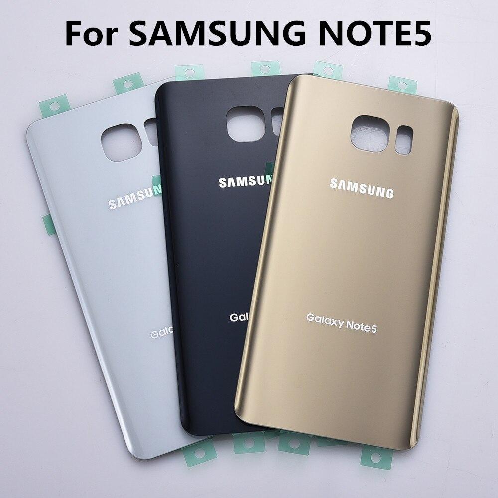 Nueva puerta trasera de la batería para Samsung Galaxy Note5 Nota 5 N920 N920F cubierta de cristal trasero con logo + sticker envío libre