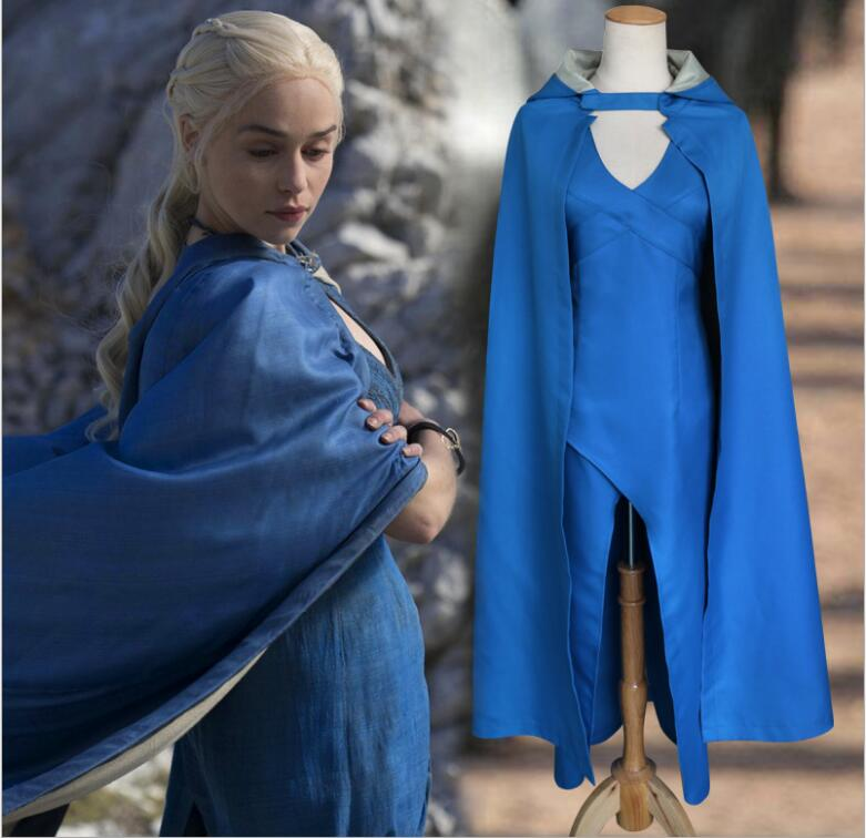 Game of Thrones Daenerys Targaryen Costume Blue Dress Cloak A Song Of Ice And Fire Movie Cosplay Halloween Costumes For Women image