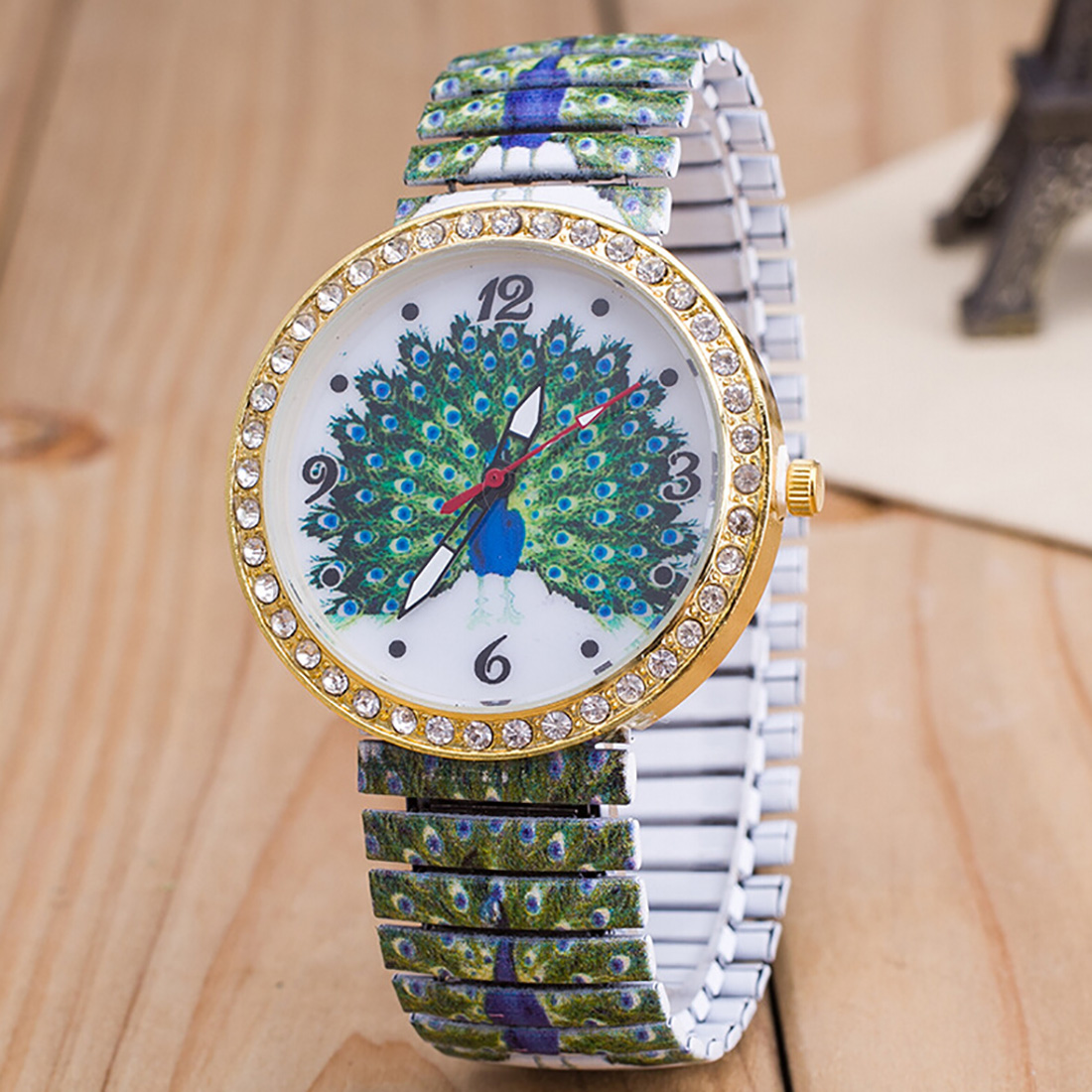купить Elastic Band Stainless Steel Wristwatches Print Skull Peacock Owl Pattern Fashion Casual Watch Women Watch по цене 271.16 рублей