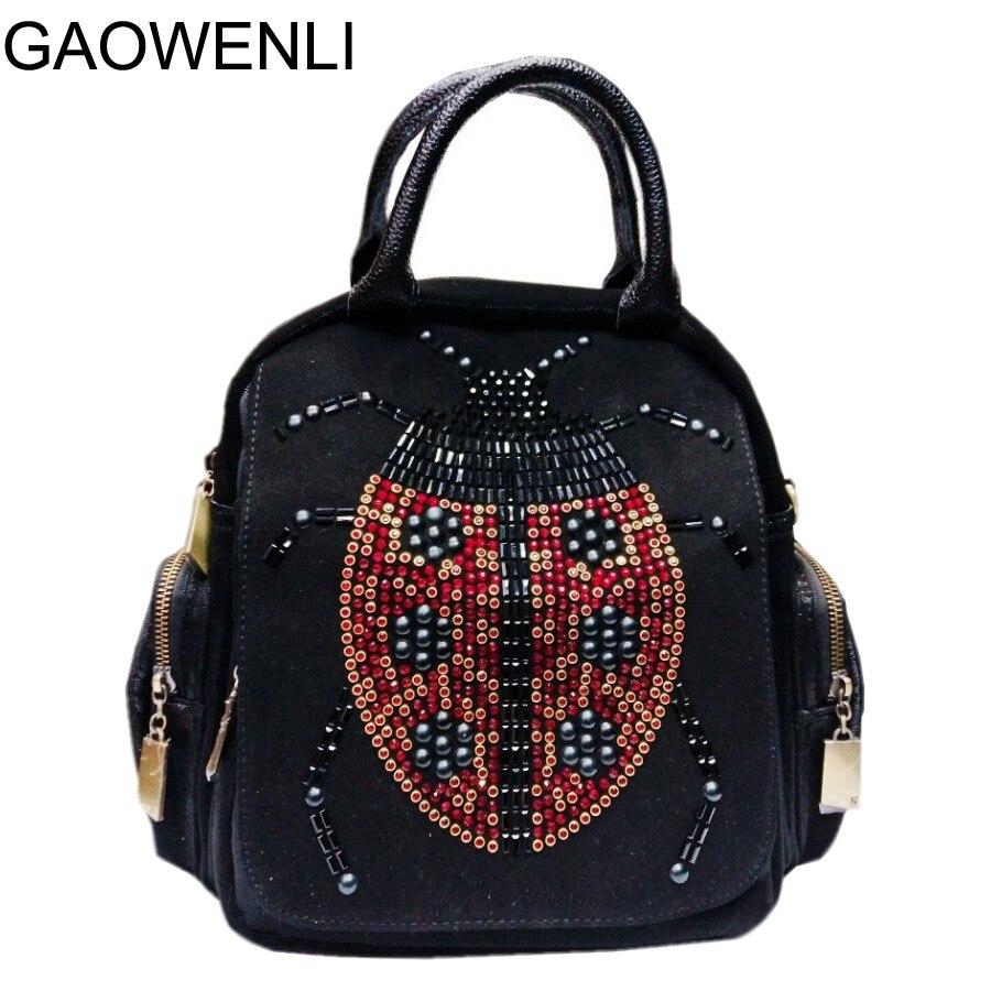 GAOWENLI Seven Star Ladybug Beaded Multi-functional High Quality Designer Bags Women Famous Brands Handbags for Teenage Girls grouchy ladybug pb illustr