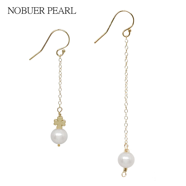 Uer Handmade Trendy Clover Style 14k Gold Real Pearl Drop Earrings For Women With Bright Flawless