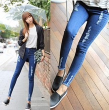 New 2016 Summer High Waist Pencil Pants Burr Hole Was Thin Ripped Jeans Fashion All-match Blue Capris Skinny Jeans Women  26~31