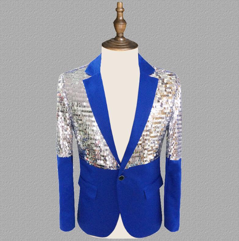 sequins blazer men suits designs jacket mens stage costumes for singers clothes dance star style dress punk rock masculino blue