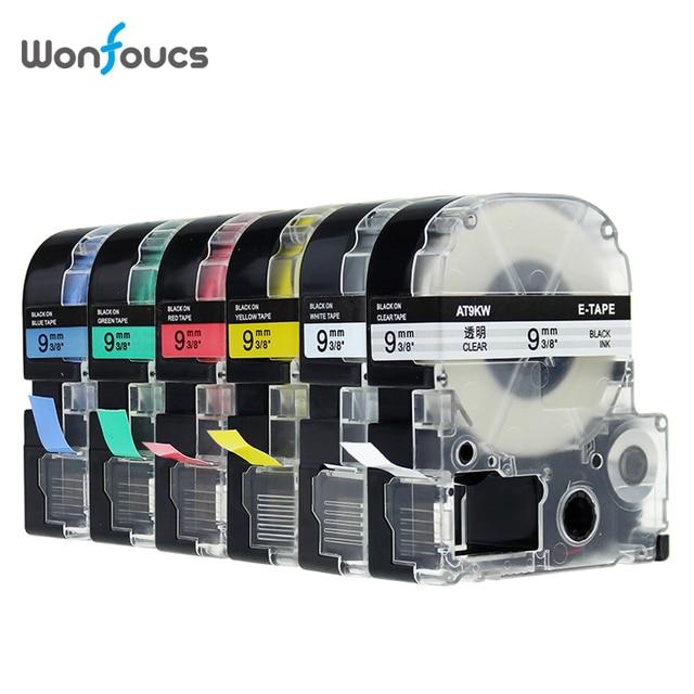 9mm ST9KW תואם Epson Kingjim LabelWorks קלטות תווית SS9KW SC9RW SC9YW SC9GW SC9BW 6PK עבור LW400 מכונת כתיבה מכונה תיוג
