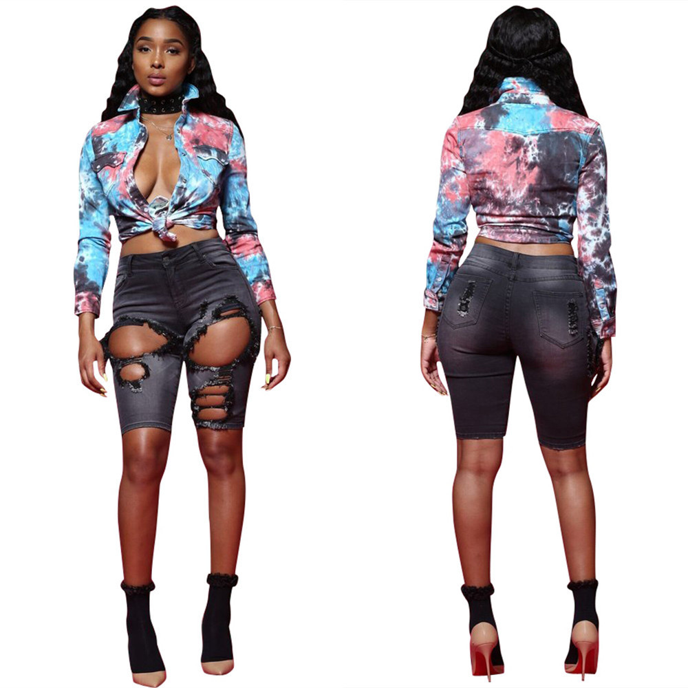 2019 New Spring Summer New Ink Painting Digital Printing Fashion Shirt Women Elegant Womens Casual Tops Long Sleeve Turn-down