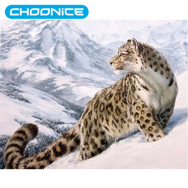 Diamond Painting Winter Picture Snow Leopard Diy Embroidery Snowy Mountain White Beautiful Scenery Mosaic