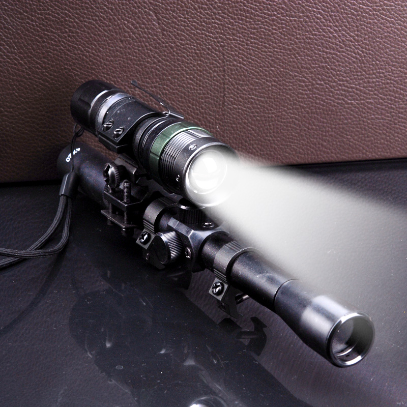 sniper 4X20 hunting RIFLE SCOPE +tactical Zoom Q5 CREE LED torch for .22 hunting