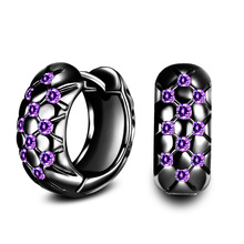 Seanlov Purple CZ Crystal Wedding Hoop Earrings For Women Black Gold &Silver Color Filled Jewelry Party Engagement Earring