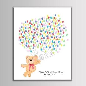 9a76782e94 Nombre personalizado fecha huellas dactilares invitado libro firma pintura  libro bebé ducha favor decoraciones de fiesta de cumpleaños de los niños