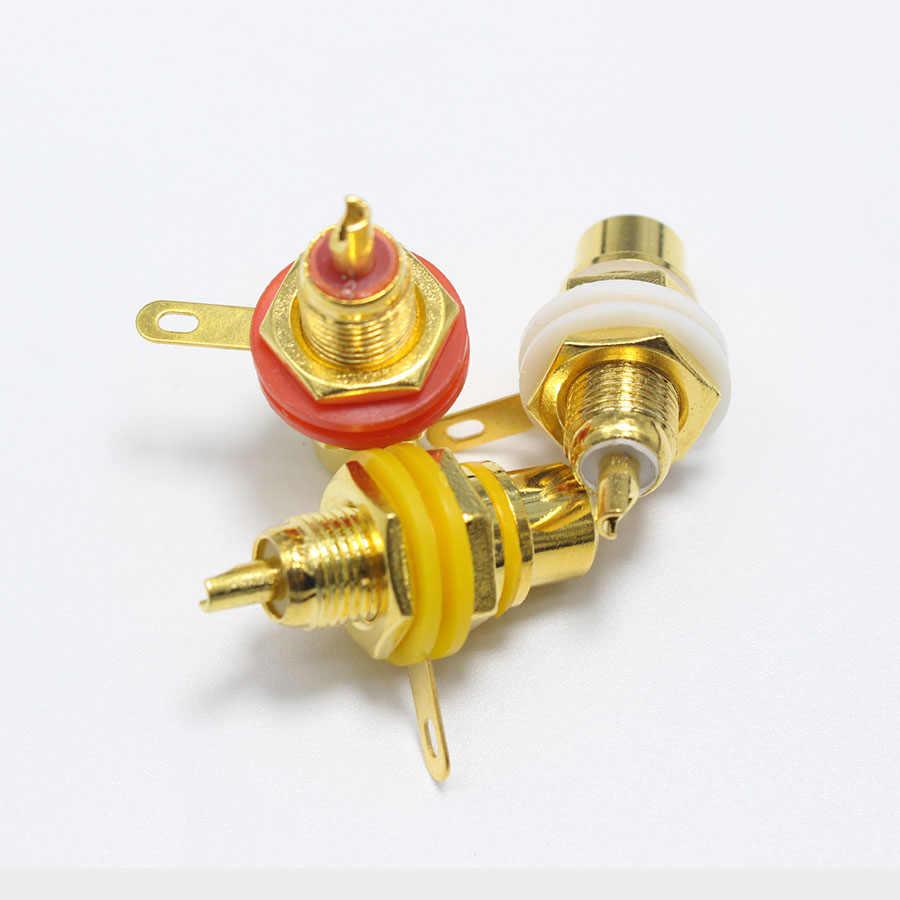 1 sztuk pozłacane złącze RCA Terminal Jack wtyk żeński podwozie gniazdo złącze panelu do wzmacniacza głośnik