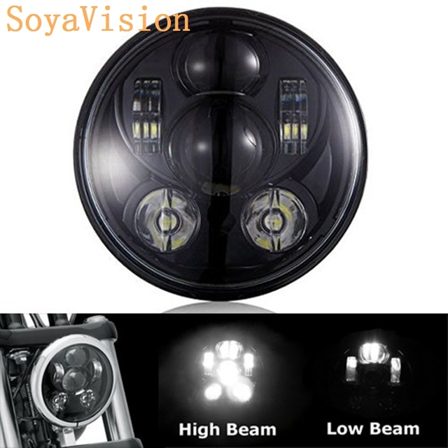 40w 5-3/4 5.75 inch black motor Projector LED Headlight Bulbs For Harley D-avidson Dyan Superglide Sporster 1200 Motorcycle