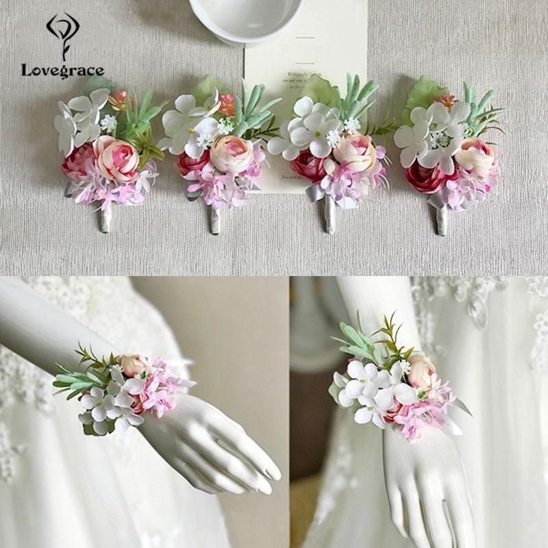 pink roses bridal Wrist corsages bracelet wedding flowers  (4)