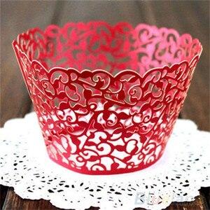 Image 5 - Molde de papel calado para cupcakes, 12 Uds., oferta, corte láser, encaje de vid pequeña, forro de envoltura, copa para hornear, molde de papel calado para pastel, DIY, Fondant, Cupcake