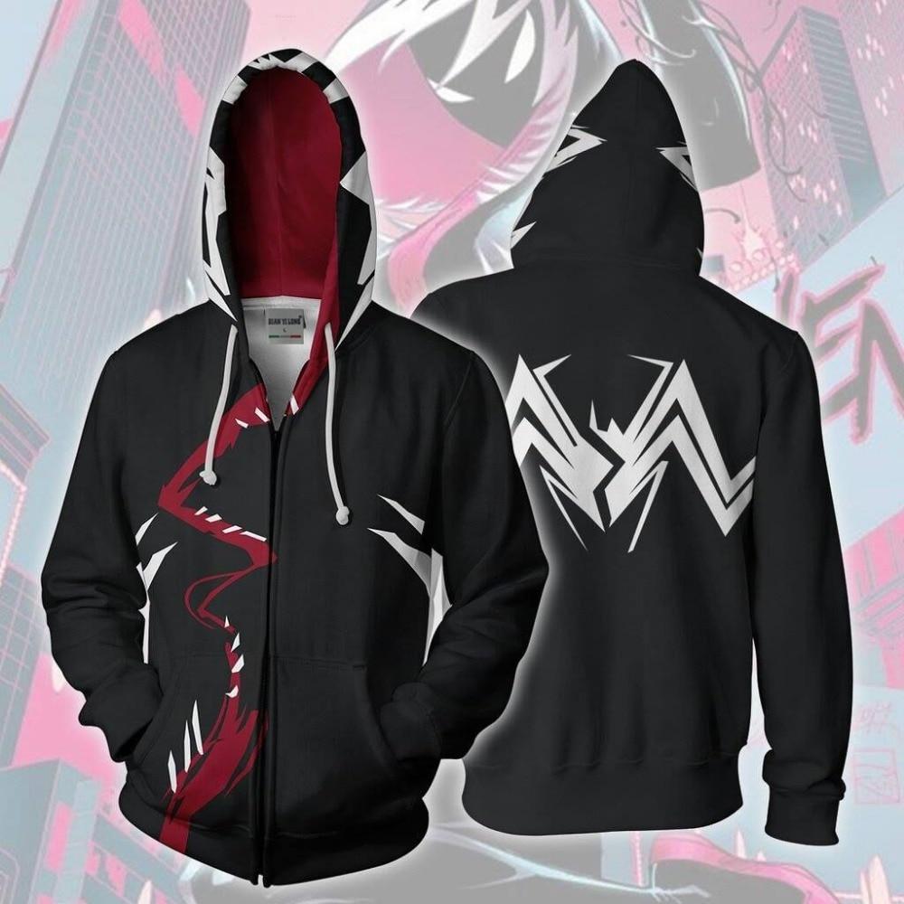 BIANYILONG 2019 new men hooded Gwenom 3D printed hoodies tracksuit zipper hoody hip hop tops free