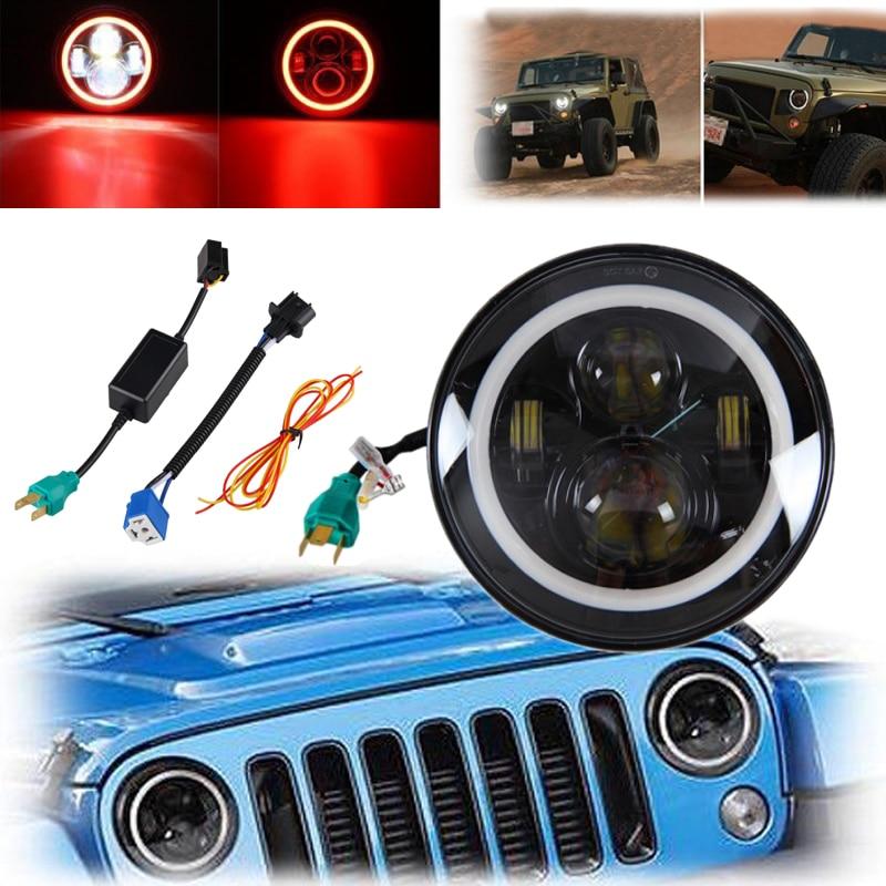 7 ''светодиодный Hi-Lo балка 3200 люмен фар круглый Halo угол глаза красный для JEEP Wrangler и мотоцикл пылезащитный свет