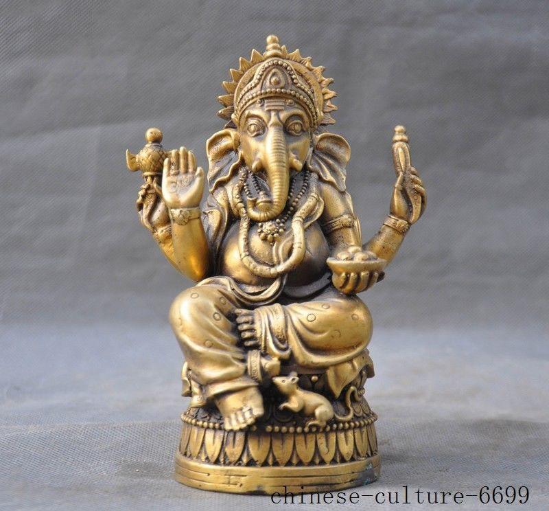 Christmas 6 Tibet Buddhism brass 4 Arms Elephant Jambhala wealth God Buddha statue Halloween