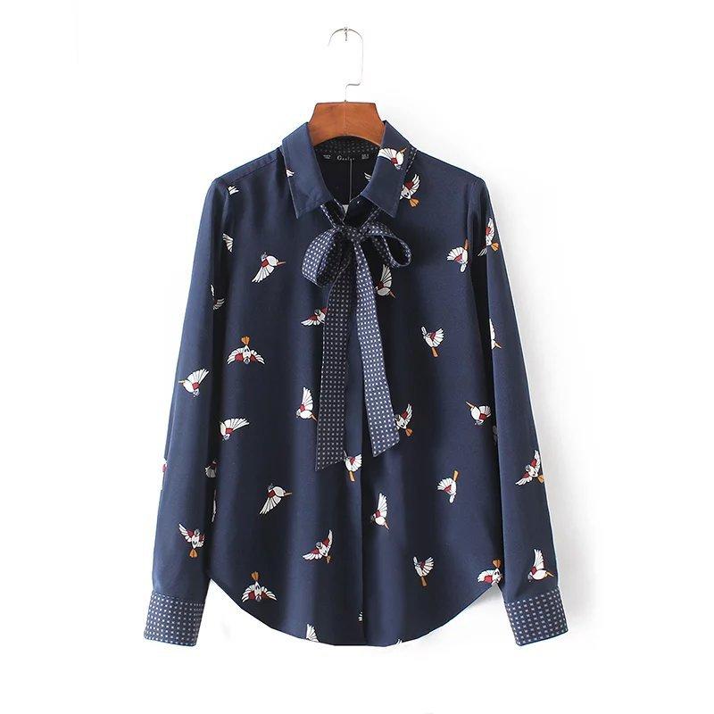 L9247 fashion women elegant navy blue color birds for Navy blue color shirt