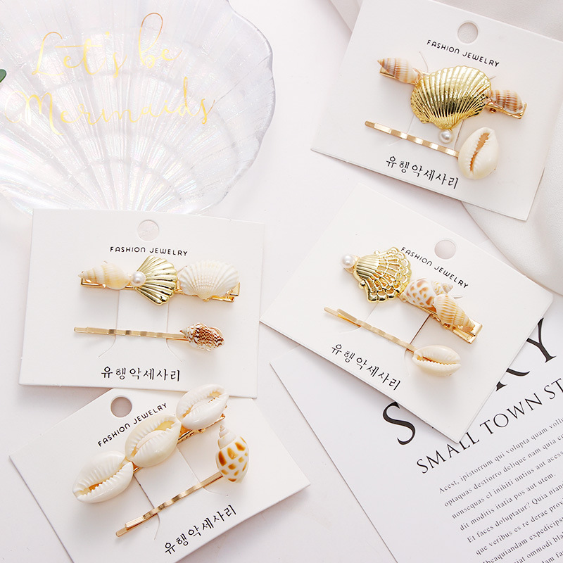 Hair Accessories 2pcs Set Real Shell Conch Starfish Marine Element Hair Clips For Women Girls Headbands Hairpins Barrettes in Women 39 s Hair Accessories from Apparel Accessories