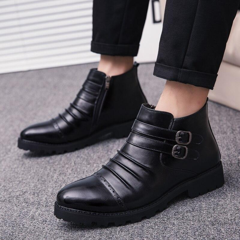 Negócios Preto Outono Casuais Sapatos Black Marca Festa De Com Confortáveis Masculino Sola Borracha Dos Homens Moda Botas Zíper Primavera Da gxAwnqFOO