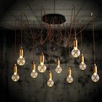 6 глава Loft ретро золотой подвесные лампы в виде паука Регулируемый старинные подвесные светильники промышленных потолочный фонарь Edison свет