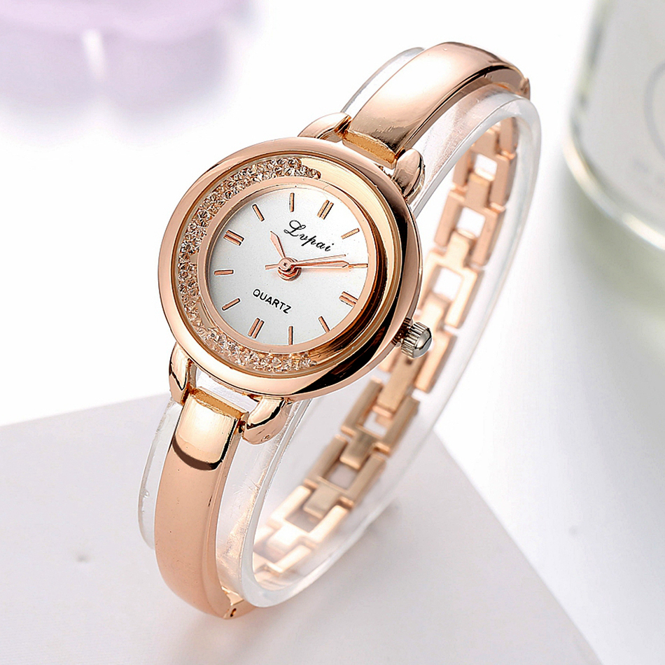 Lvpai Brand Luxury Rose Gold Dress Watches Women Fashion Bracelet Watch Casual Ladies Crystal Quartz Wristwatches Sport Clock