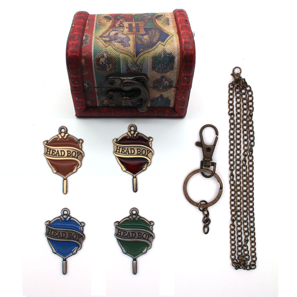 OHCOMICS Hot For Harri Potter HP Harry Headboy Headgirl Metal Necklace/Keychain Keyring+ Wooden Box Collection Costume Accessory