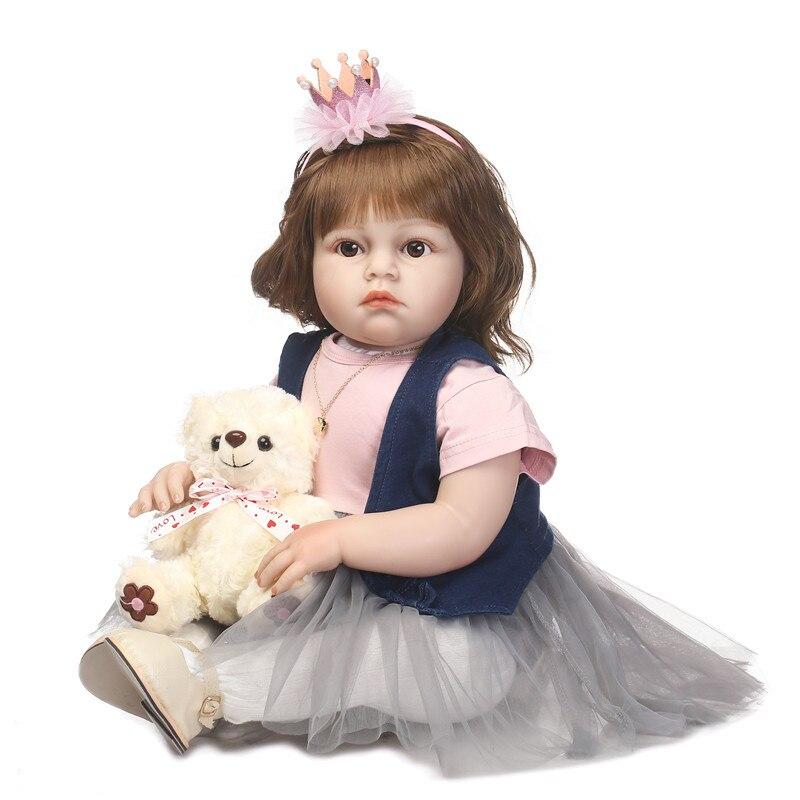 Bebe NPK 70 cm grand fait à la main réaliste silicone reborn enfant en bas âge bébé mode poupée cadeau de noël réel toucher reborn fille bonecas