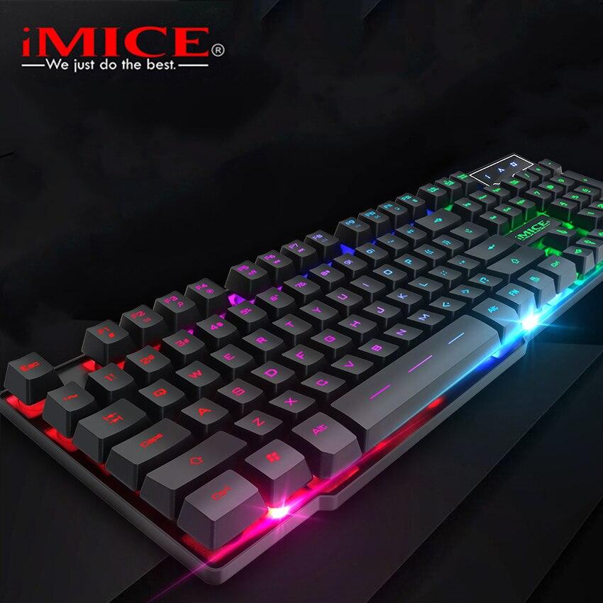 IMice Gaming Tastatur 104 Tastenkappen Backlit Tastatur Gamer Wired USB Computer tastatur Englisch Russische Tastaturen für Desktop