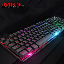 Imice Gaming Keyboard Imitasi Mekanis Keyboard dengan Lampu Latar Bahasa Rusia Gamer Keyboard Kabel USB Game Keyboard untuk Komputer(China)