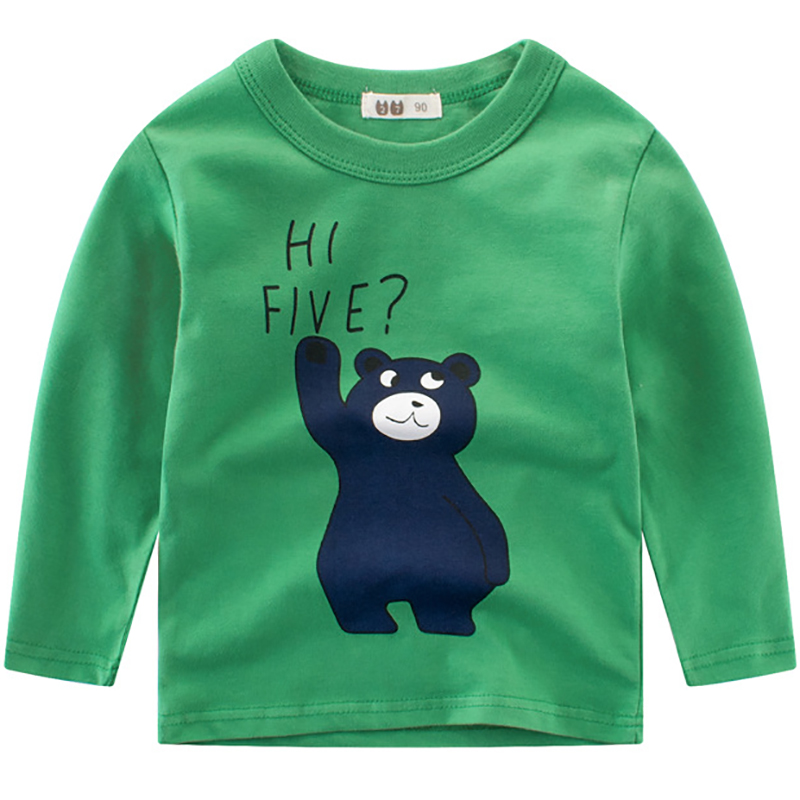 New Boys T-Shirts Cute Fun Cartoon Bear Girls Tops Autumn Winter Kids Clothes Children Long Sleeve Tshirts Baby Cotton T Shirts