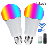 Wifi Bulb Smart RGB Light, Remote Phone App Control, 7W E26 E27 B22 Night Light Compatible with Alexa Echo & Google Home 2PC