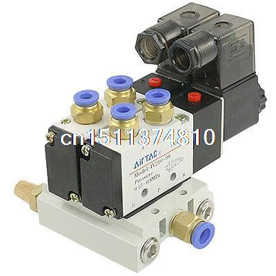 Pneumatic 6mm Blue End Dia Quick Fittings Solenoid Valve Base Mufflers Set