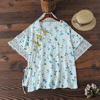 Традиционные Китайская рубашка для женщин летние этнические Винтаж короткий рукав o средства ухода за кожей шеи ручной работы лягушка печа