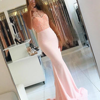 2019 Sexy Backless Prom Dresses Halter Neck Elegant Mermaid Evening Gown Pink Sleeveless