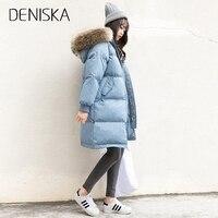 DENISKA Winter Women Long Thick Warm Cotton Jacket Hooded Coat Female Fur Collar Slim Jacket Ladies Parka Outerwear Over