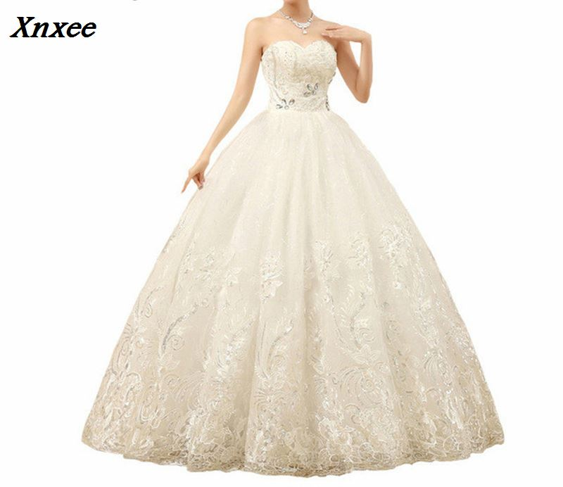 Xnxee Cheap White Princess Wedding Frocks Vestidos De Novia Sequins Strapless Lace Dresses Bride