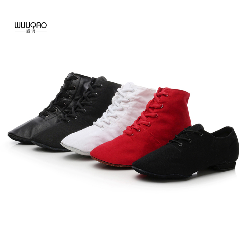 Women's Men's Jazz Dance Shoes Lace Up Boots Children's kids Jazz Sneaker Dance Shoes Canvas or Leather Jazz  Boots Wholesale