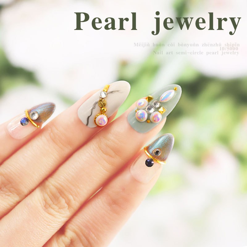 Pearl jewelry Nail Art Decoration Heart Rhombus Rectangle Round Drop shape Flat Bottom 3D Nail Rhinestones NHE in Rhinestones Decorations from Beauty Health