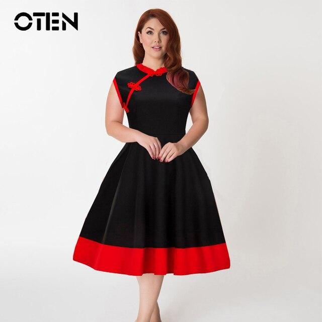 OTEN Summer Dresses 2018 plus size 4XL Women Sleeveless Chinese Style  Ladies vintage red black Elegant Fashion pin up dress robe dc5c94a42ef2