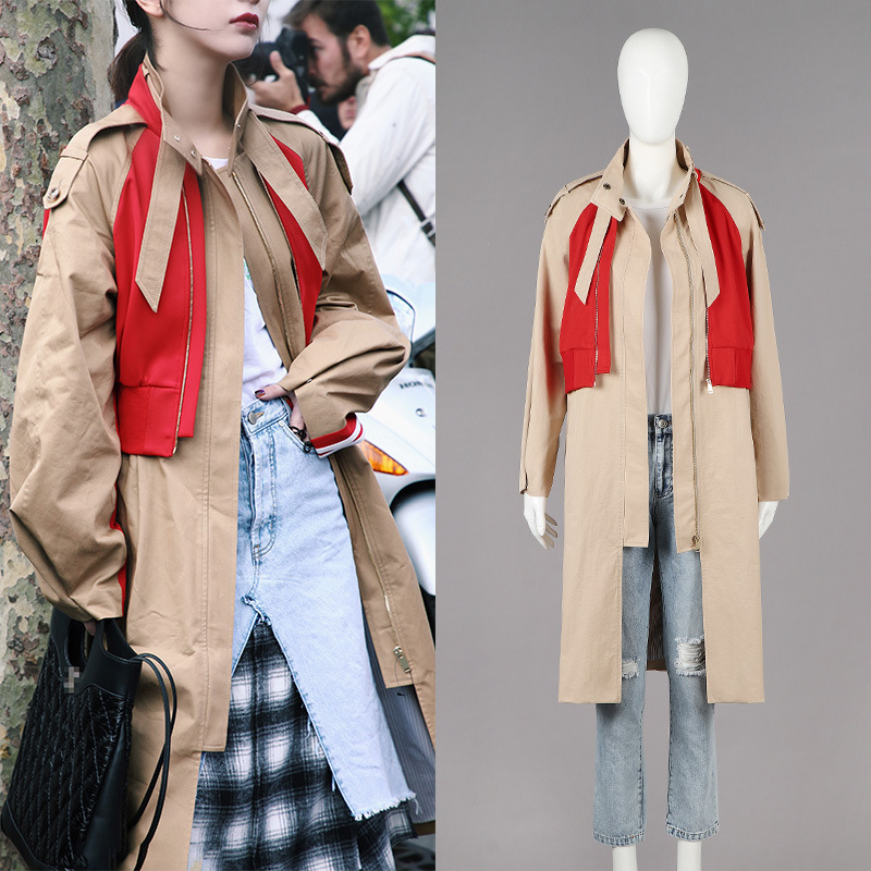 Faux two pieces fashion khaki patchwork windbreaker coat Womens Ankle-length Coat   Trench   Winter Fall Warm Overcoat