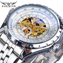 Jaragar Classic Automatic Mens Watch Relojes Hombre Silver Skeleton Steel Strap Sport Business Mechanical Clock Watches Relogio