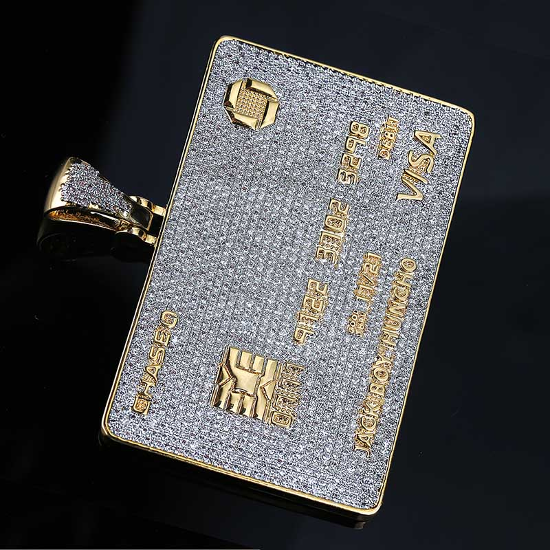 Image 4 - Full Iced Out Credit Card Pendant Necklace Mens Gold Silver Color Hip Hop Jewelry With Tennis Chain Charm CZ Jewelry Gifts-in Pendant Necklaces from Jewelry & Accessories
