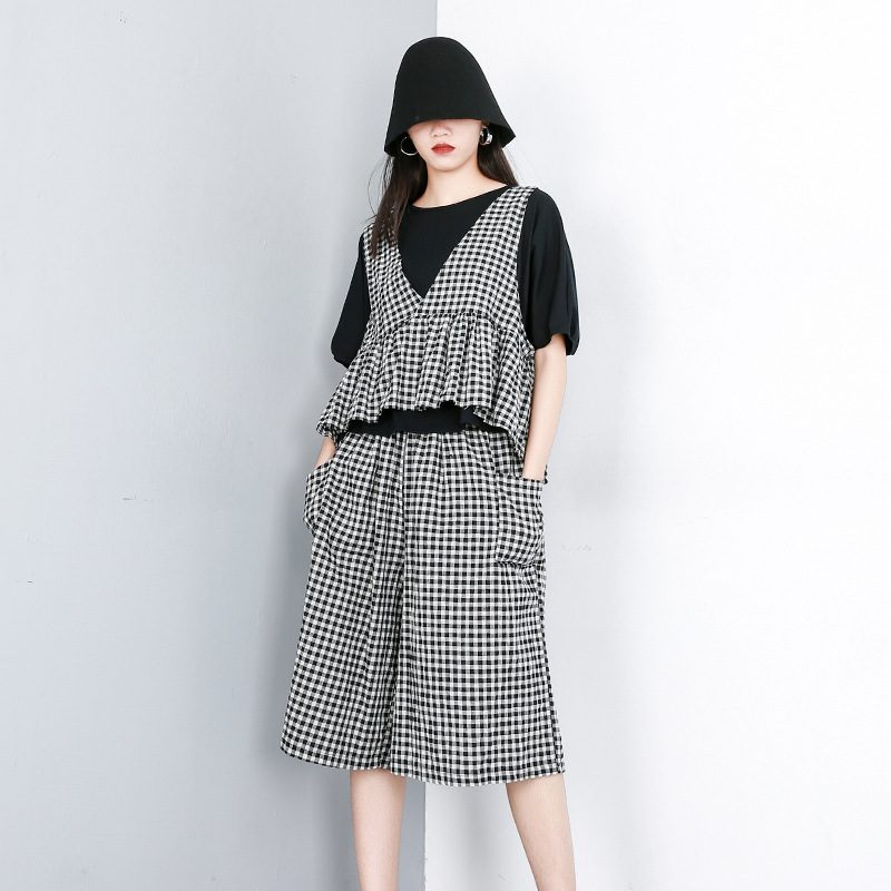LANMREM 2019 New Summer Fashion Women Clothes Round Neck Batwing Sleeves Short Top And Vest Wide Legs Pants Set Plaided WG87901