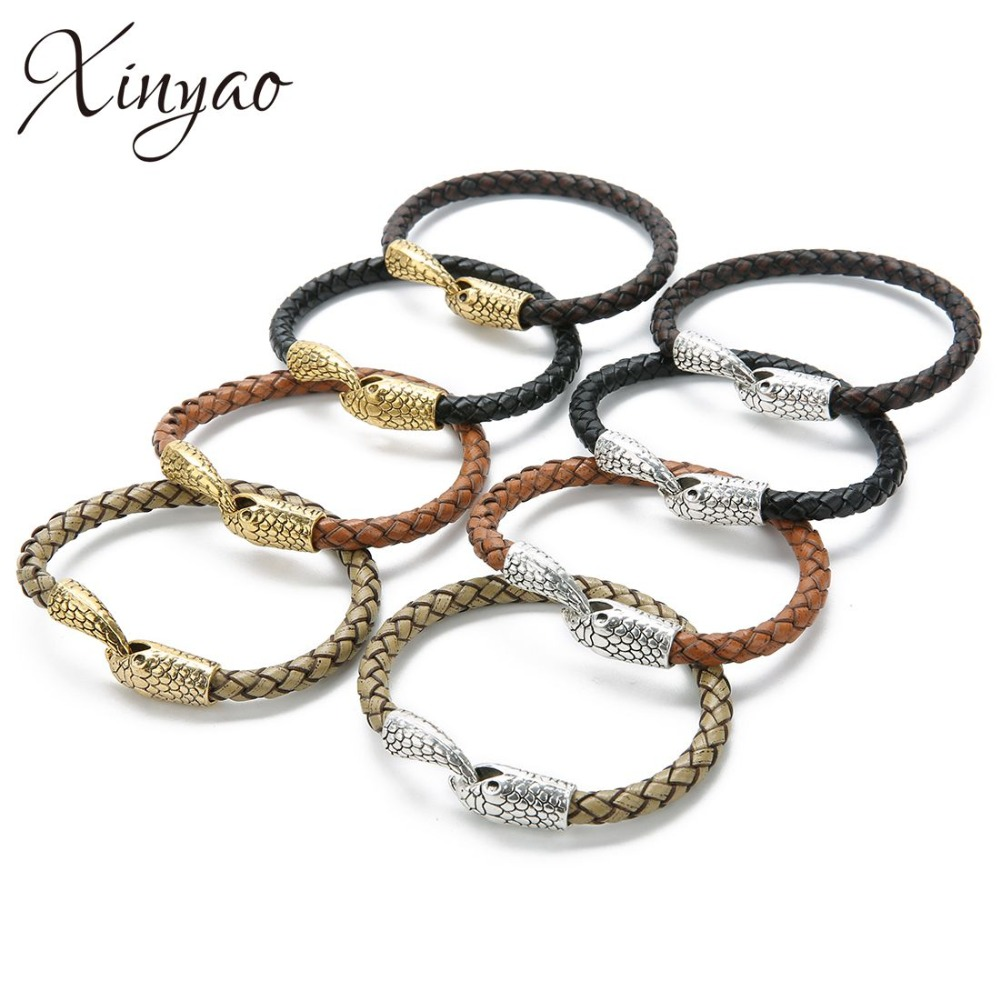 XINYAO 1pc 21cm Genuine Leather Bracelet & Bangle Snake Head Bracelet Bangle Accessories for Blessing Men Bracelet Jewelry