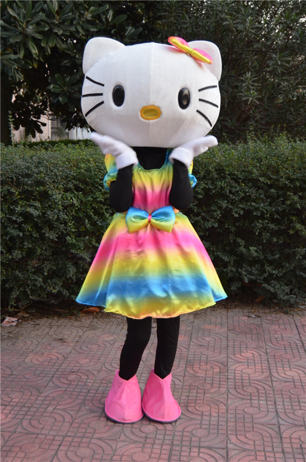 Hello Kitty Mascot Costume Rainbow love Kitty cat cartoon character funny mascots  Carnival Character Suit Cosplay Outfits Adult