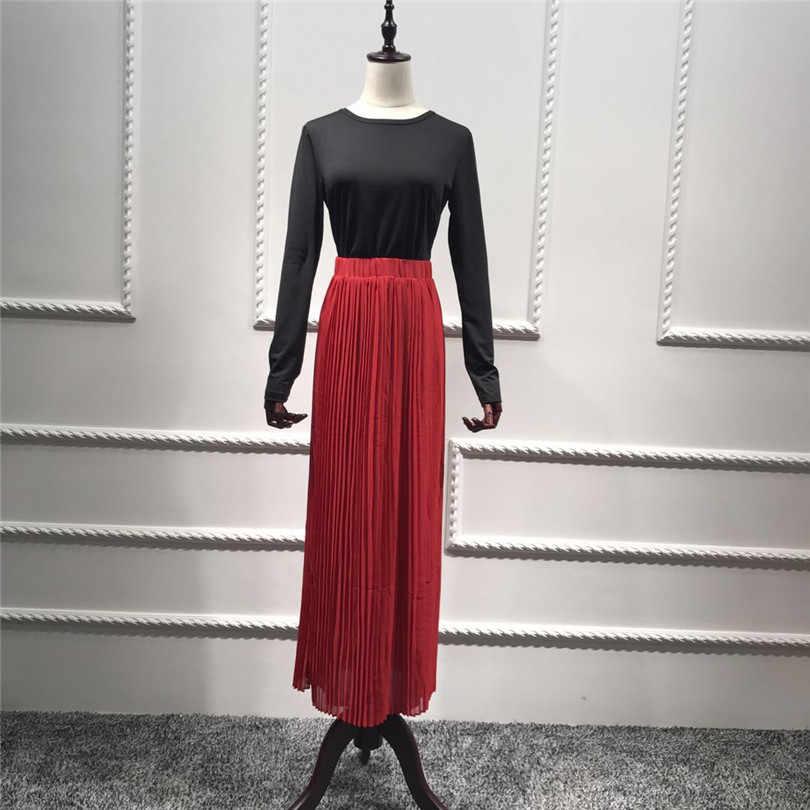 Kırmızı şifon müslüman elbise donanma uzun dipleri kadın pilili etek zarif İslam giyim ayak bileği uzunlukta orta doğu buruşuk